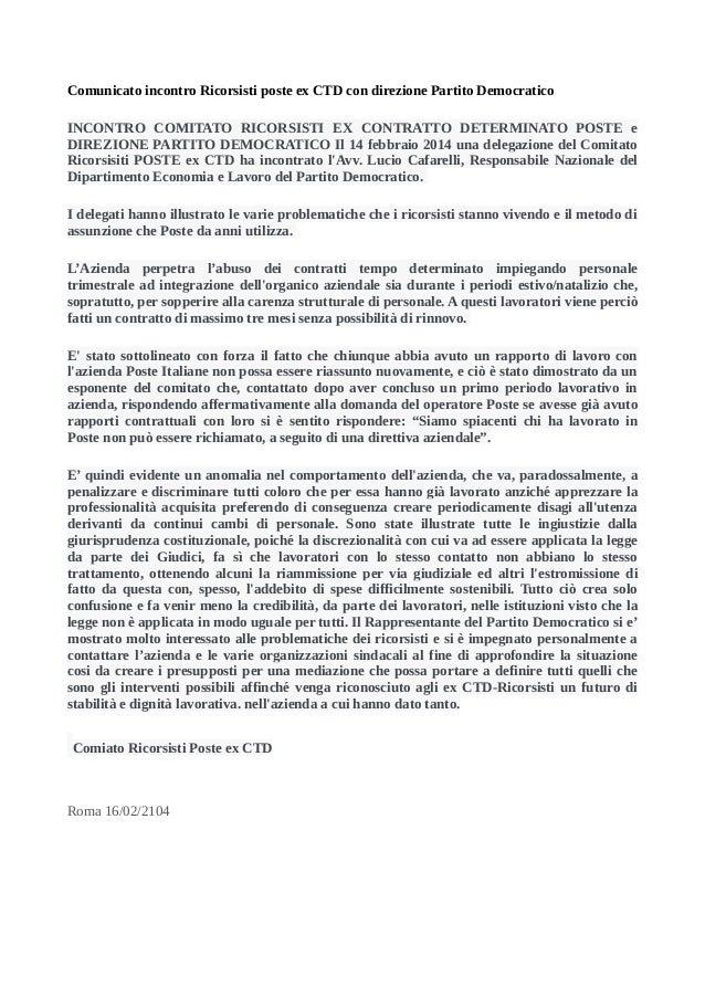Comunicato incontro Ricorsisti poste ex CTD con direzione Partito Democratico INCONTRO COMITATO RICORSISTI EX CONTRATTO DE...