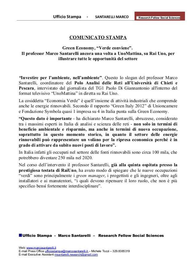 Comunicato stampa   green economy, il prof. santarelli spiega le opportunità a uno mattina