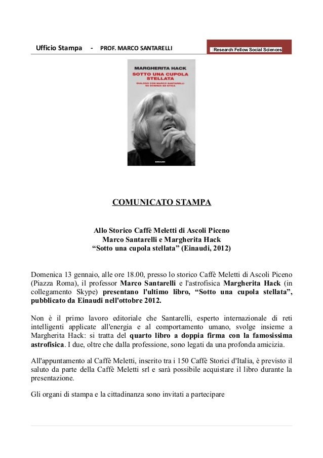 Ufficio Stampa     - PROF. MARCO SANTARELLI                   Research Fellow Social Sciences                            C...