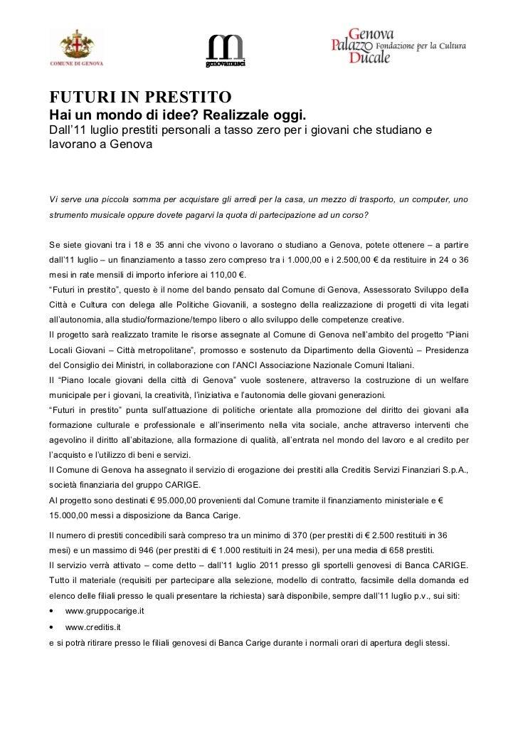 Microcredito garantito dal Comune di Genova