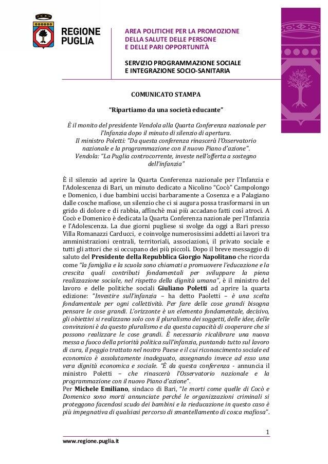 AREA POLITICHE PER LA PROMOZIONE DELLA SALUTE DELLE PERSONE E DELLE PARI OPPORTUNITÀ SERVIZIO PROGRAMMAZIONE SOCIALE E INT...