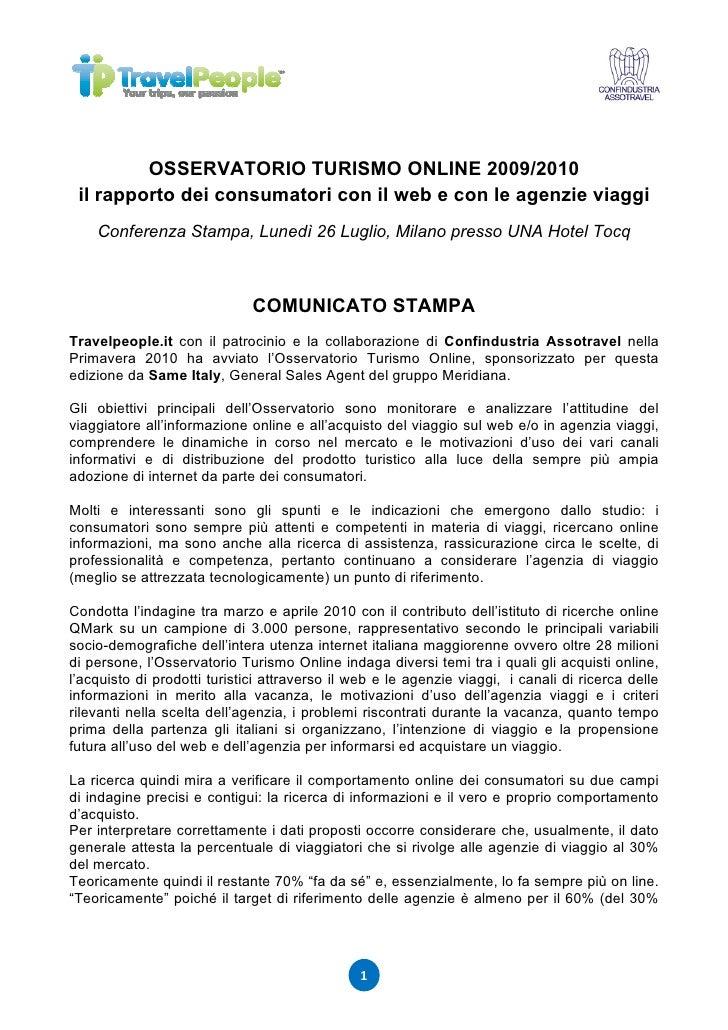 OSSERVATORIO TURISMO ONLINE 2009/2010  il rapporto dei consumatori con il web e con le agenzie viaggi     Conferenza Stamp...