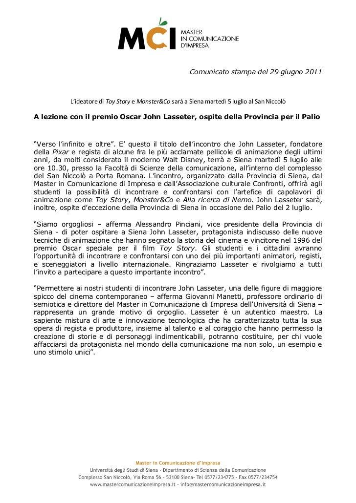 Comunicato stampa Master in Comunicazione d'Impresa Università di Siena- John Lasseter