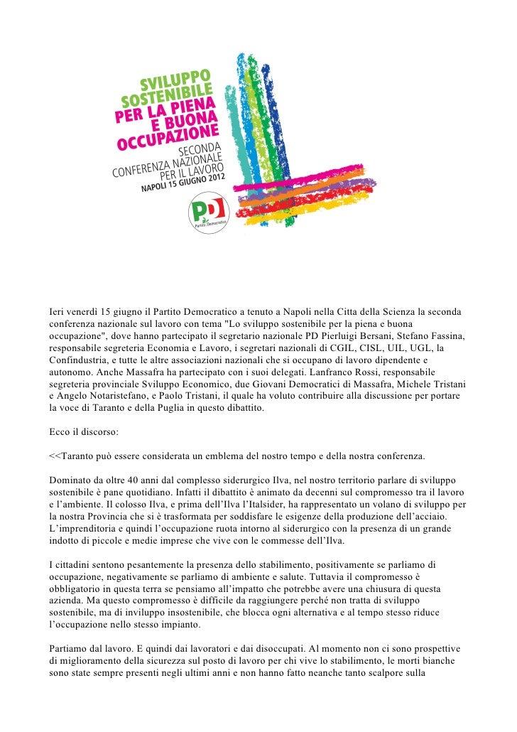 Conferenza nazionale per il Lavoro - Intervento di Paolo Tristani