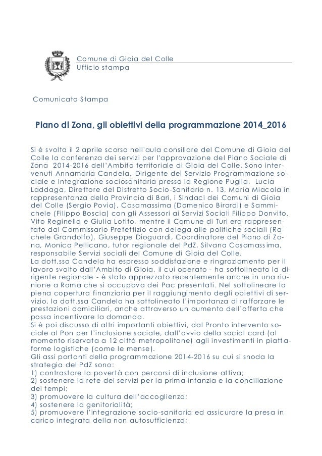 Comune di Gioia del Colle Ufficio stampa Comunicato Stampa Piano di Zona, gli obiettivi della programmazione 2014_2016 Si ...