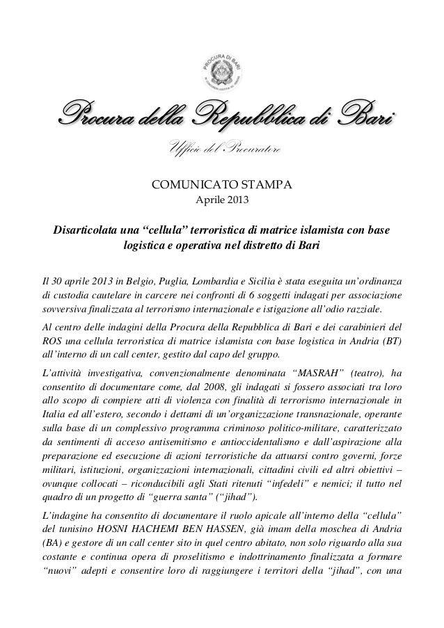 Comunicato stampa ufficio del procuratore