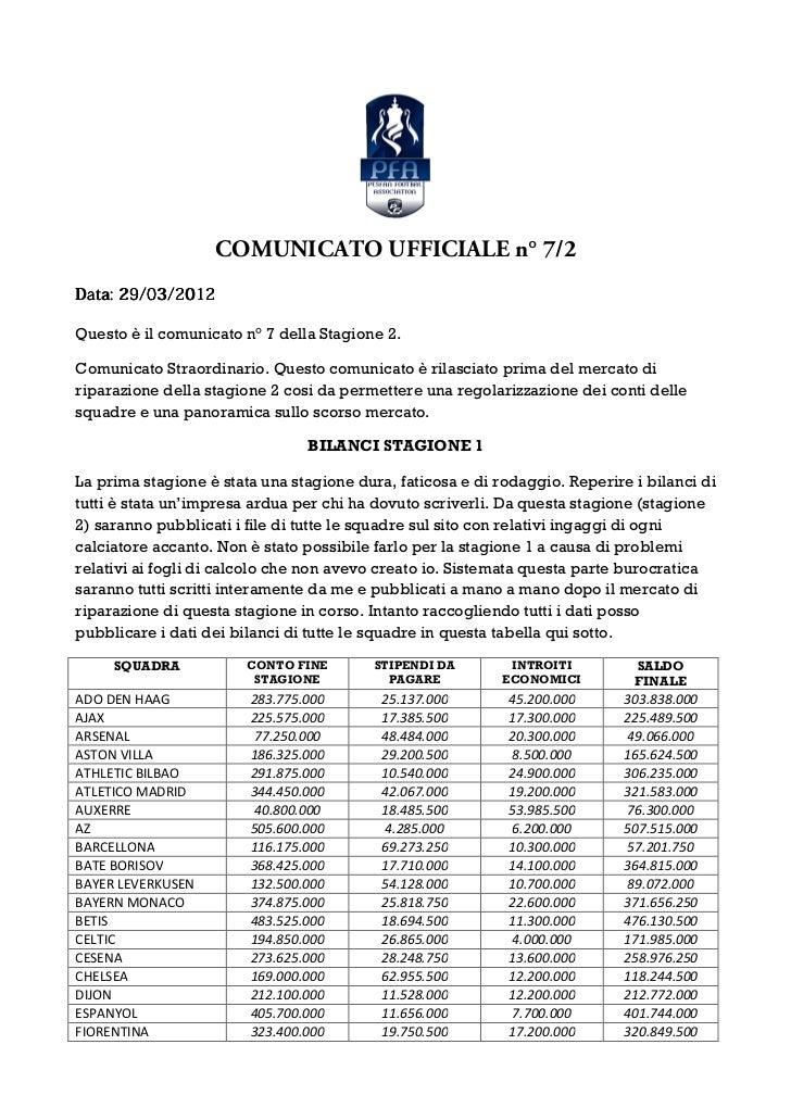 COMUNICATO UFFICIALE n° 7/2Data: 29/03/2012Questo è il comunicato n° 7 della Stagione 2.Comunicato Straordinario. Questo c...