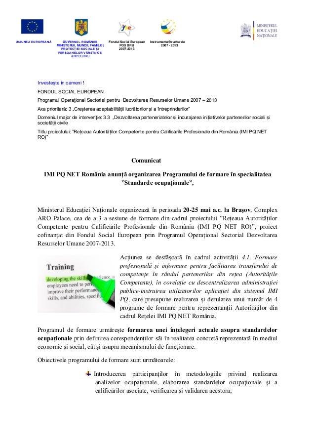 Comunicat pre-eveniment SA4.1 formare standarde ocupationale Brasov
