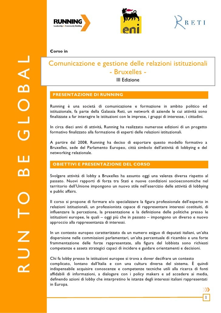 Corso in  Comunicazione e gestione delle relazioni istituzionali                   - Bruxelles -                          ...