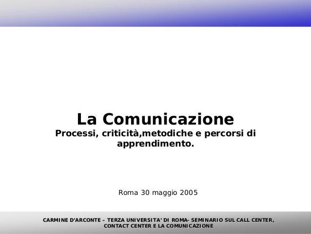 La Comunicazione   Processi, criticità,metodiche e percorsi di                 apprendimento.                       Roma 3...