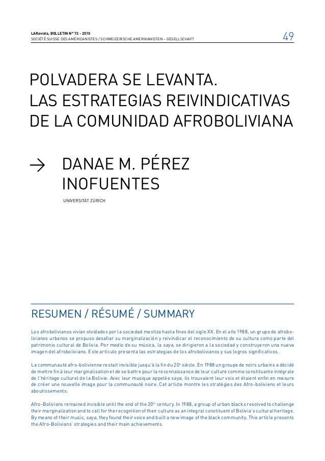 LARevista, bolletin n° 72 - 2010SOCIÉTÉ SUISSE DES AMÉRICANISTES / SCHWEIZERISCHE AMERIKANISTEN – GESELLSCHAFT            ...