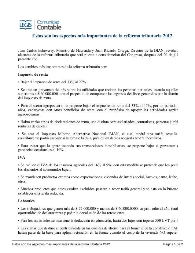 Estos son los aspectos más importantes de la reforma tributaria 2012        Juan Carlos Echeverry, Ministro de Hacienda y...