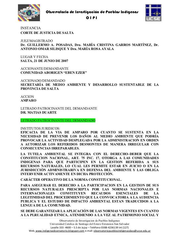 Comunidad eben ezer vs. everest s.a. secretaría de medio ambiente de la provincia de salta