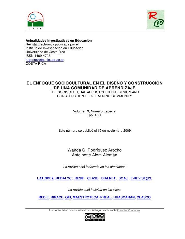EL ENFOQUE SOCIOCULTURAL EN EL DISEÑO Y CONSTRUCCIÓN DE UNA COMUNIDAD DE APRENDIZAJE