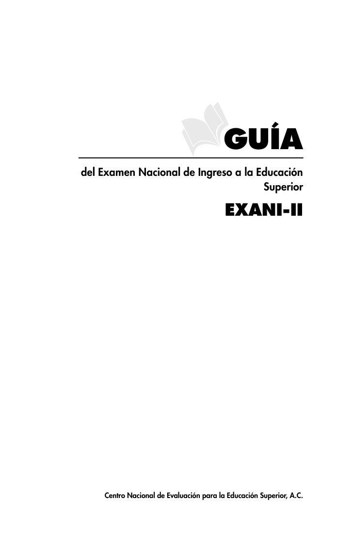 GUÍAdel Examen Nacional de Ingreso a la Educación                                     Superior                            ...