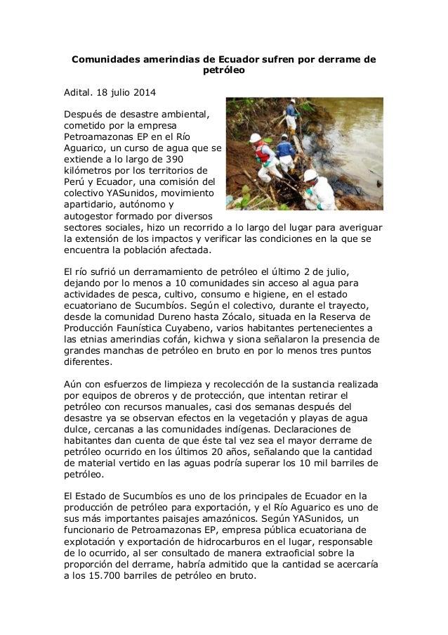 Comunidades amerindias de Ecuador sufren por derrame de petróleo