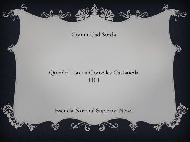 Comunidad Sorda Quindri Lorena Gonzales Castañeda 1101 Escuela Normal Superior Neiva