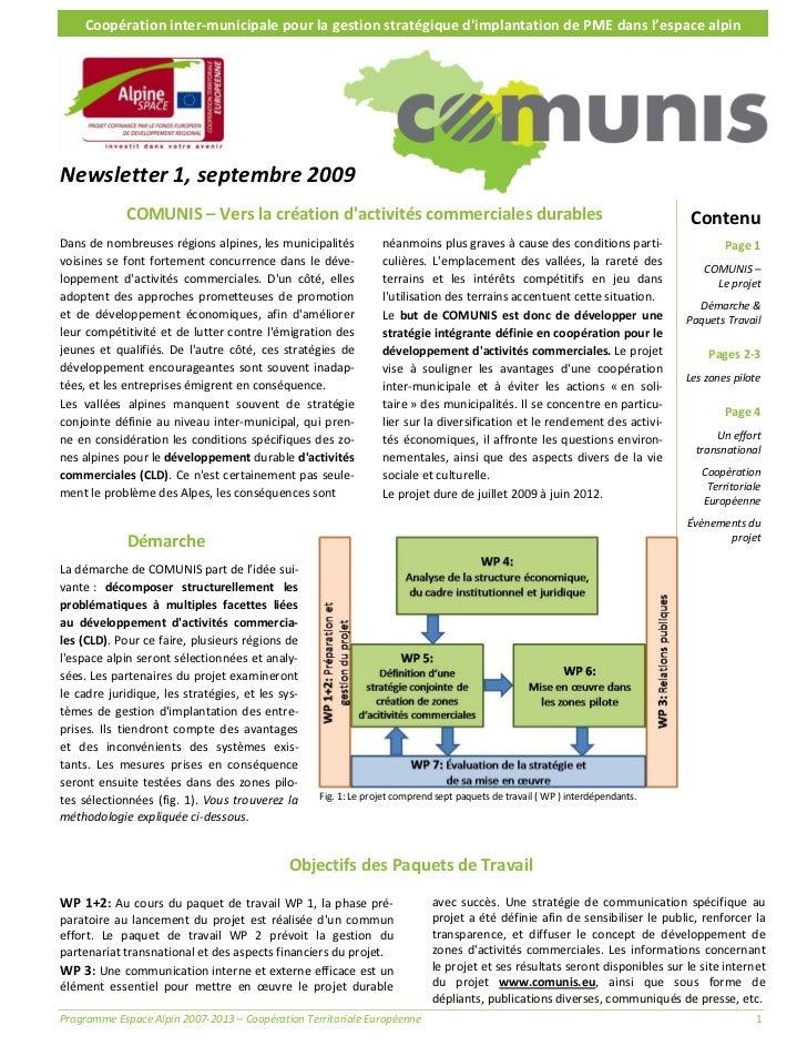 Coopérationinter‐municipalepourlagestionstratégiquedimplantationdePMEdansl'espacealpinNewsletter1,septem...