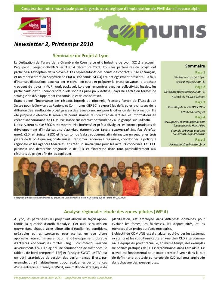 Coopérationinter‐municipalepourlagestionstratégiquedimplantationdePMEdansl'espacealpinNewsletter2,Printemp...