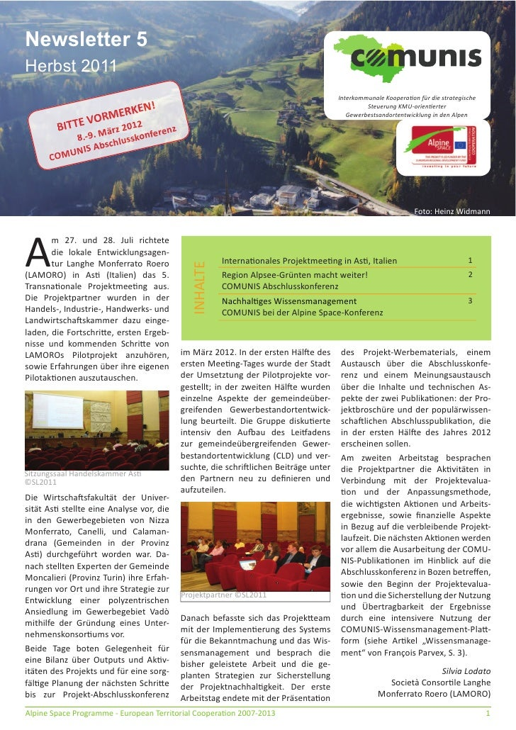 Comunis newsletter 5 Deutsch
