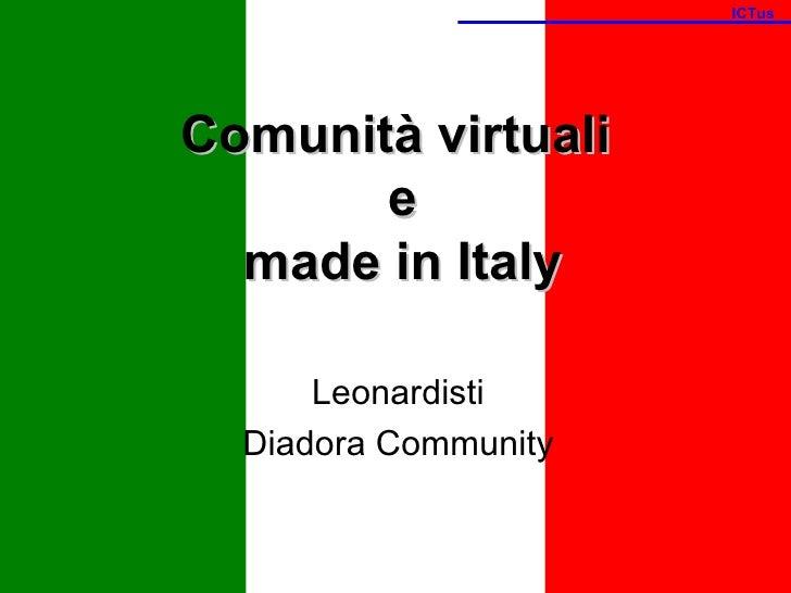 Comunità virtuali  e  made in Italy Leonardisti Diadora Community ICTus