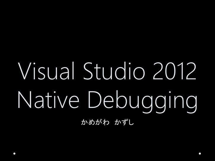 Visual Studio 2012 Native Debugger Feature
