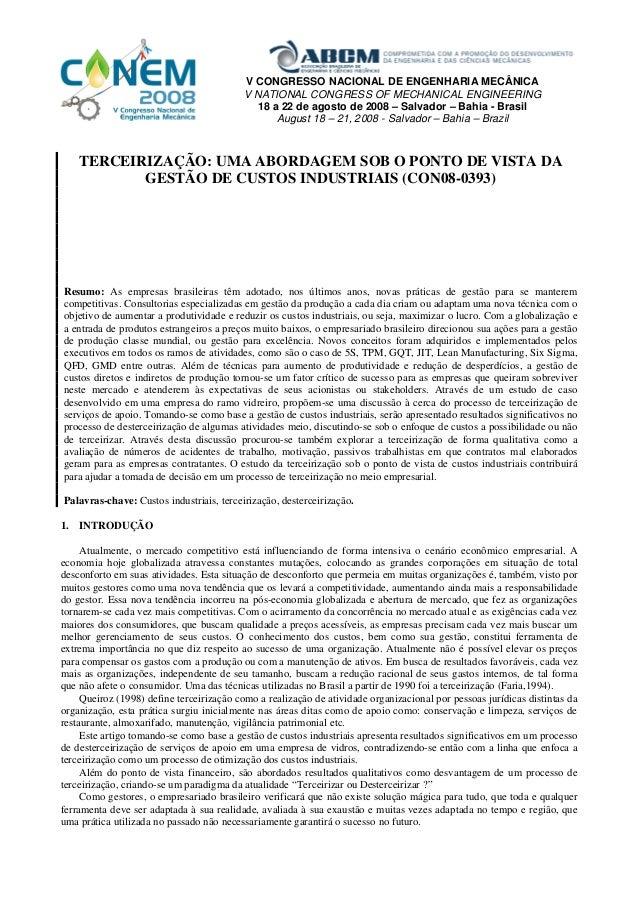 V CONGRESSO NACIONAL DE ENGENHARIA MECÂNICA                                          V NATIONAL CONGRESS OF MECHANICAL ENG...