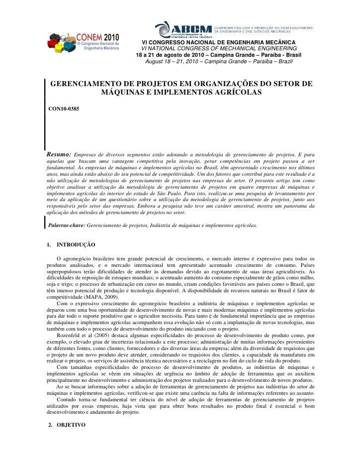 GERENCIAMENTO DE PROJETOS EM ORGANIZAÇÕES DO SETOR DE MÁQUINAS E IMPLEMENTOS AGRÍCOLAS