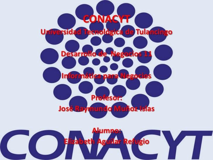 CONACYTUniversidad Tecnológica de Tulancingo     Desarrollo de Negocios 11     Informática para Negocios             Profe...