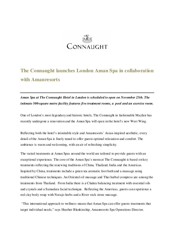 The Connaught launches London Aman Spa in collaboration with Amanresorts   Aman Spa at The Connaught Hotel in London is sc...