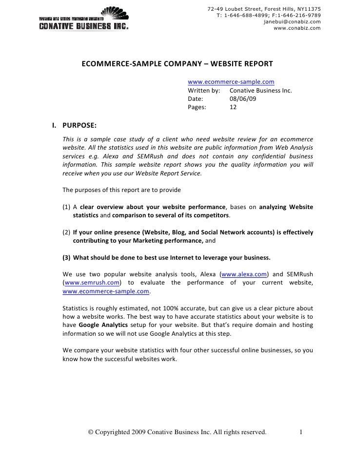 Sample Ecommerce - Website Report v2