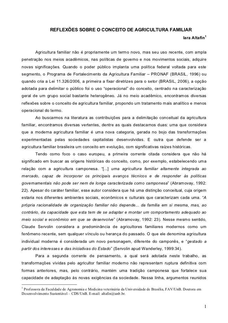 REFLEXÕES SOBRE O CONCEITO DE AGRICULTURA FAMILIAR                                                                        ...