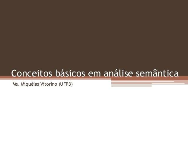 Conceitos básicos em análise semântica