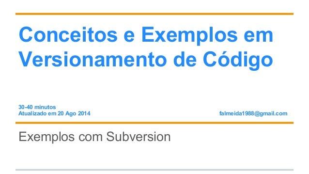 Conceitos e exemplos em versionamento de código
