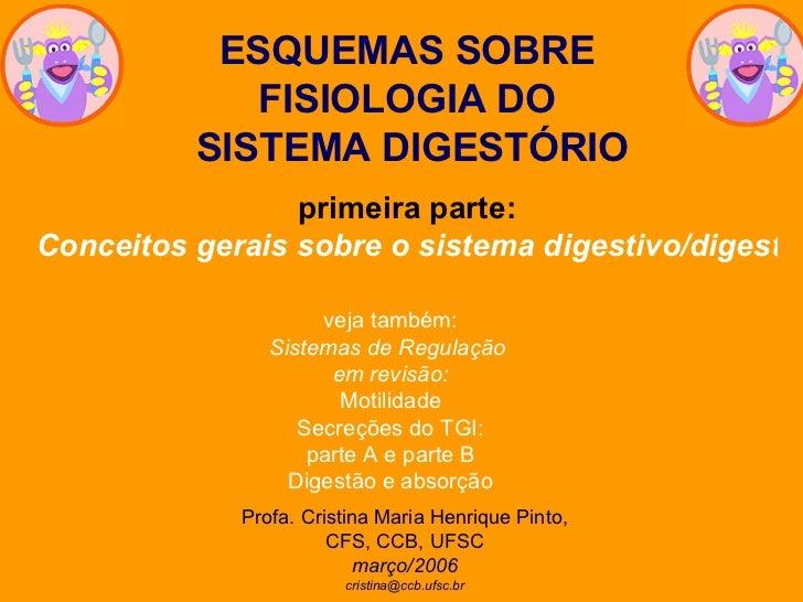 ESQUEMAS SOBRE FISIOLOGIA DO SISTEMA DIGESTÓRIO primeira parte: Conceitos gerais sobre o sistema digestivo/digestório Prof...