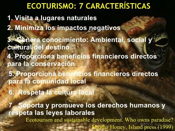 CARACTERÍSTICAS DEL ECOTURISMO