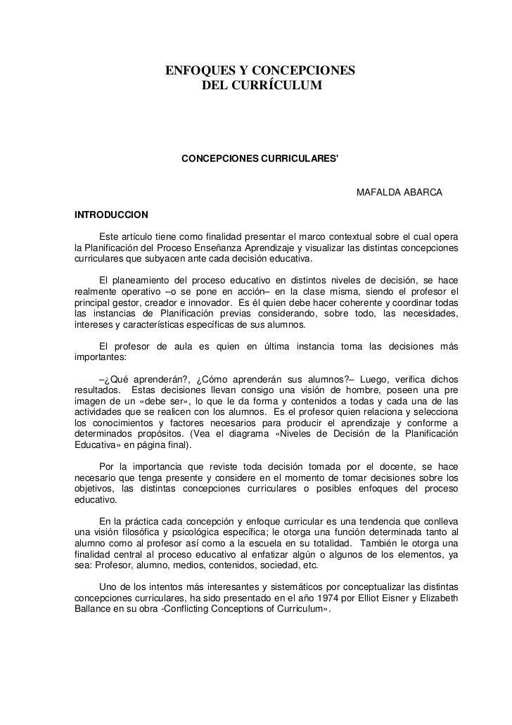 ENFOQUES Y CONCEPCIONES                         DEL CURRÍCULUM                         CONCEPCIONES CURRICULARES          ...
