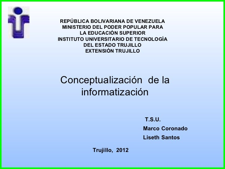 REPÚBLICA BOLIVARIANA DE VENEZUELA  MINISTERIO DEL PODER POPULAR PARA        LA EDUCACIÓN SUPERIORINSTITUTO UNIVERSITARIO ...