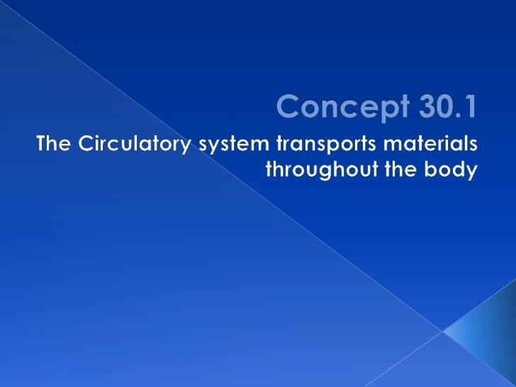 Concept 30.1<br />The Circulatory system transports materials throughout the body<br />
