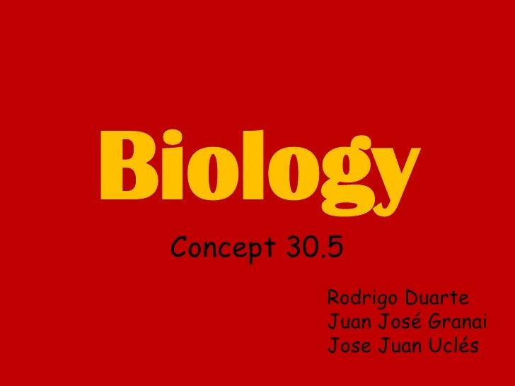 Biology<br />Concept 30.5<br />Rodrigo Duarte<br />Juan José Granai<br />Jose Juan Uclés<br />