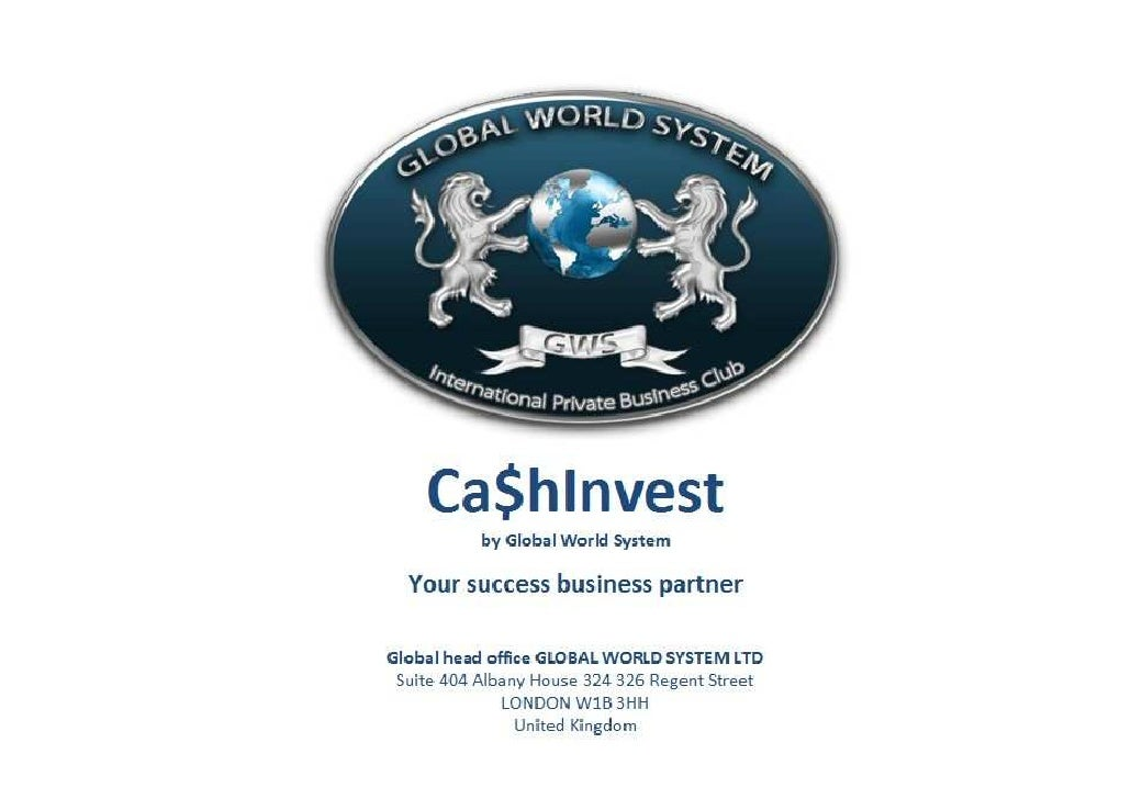 Concept Ca$H Invest By Global World System Francais