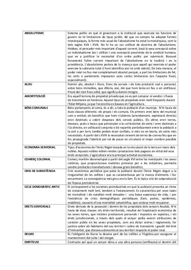 ABSOLUTISME  ALOU  AMORTITZACIÓ  BÉNS COMUNALS  ECONOMIA SENYORIAL  COMERÇ COLONIAL  CRISI DE SUBSISTÈNCIA  CICLE DEMOGRÀF...