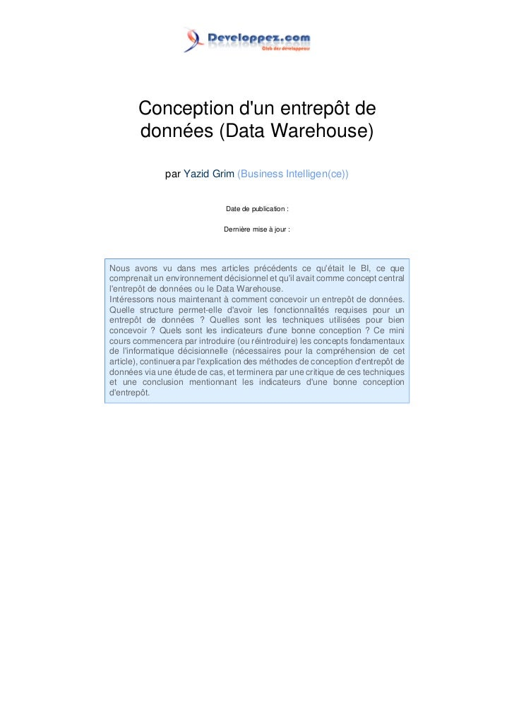 Conception dun entrepôt de       données (Data Warehouse)              par Yazid Grim (Business Intelligen(ce))           ...