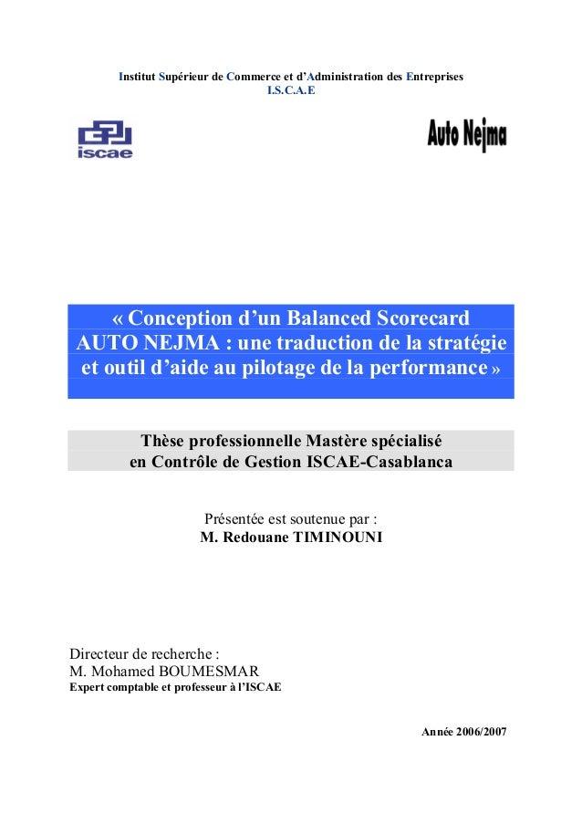 Institut Supérieur de Commerce et d'Administration des Entreprises I.S.C.A.E « Conception d'un Balanced Scorecard AUTO NEJ...