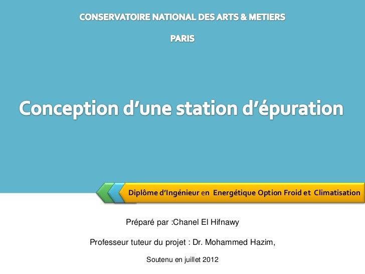 Diplôme d'Ingénieur en Energétique Option Froid et Climatisation         Préparé par :Chanel El HifnawyProfesseur tuteur d...