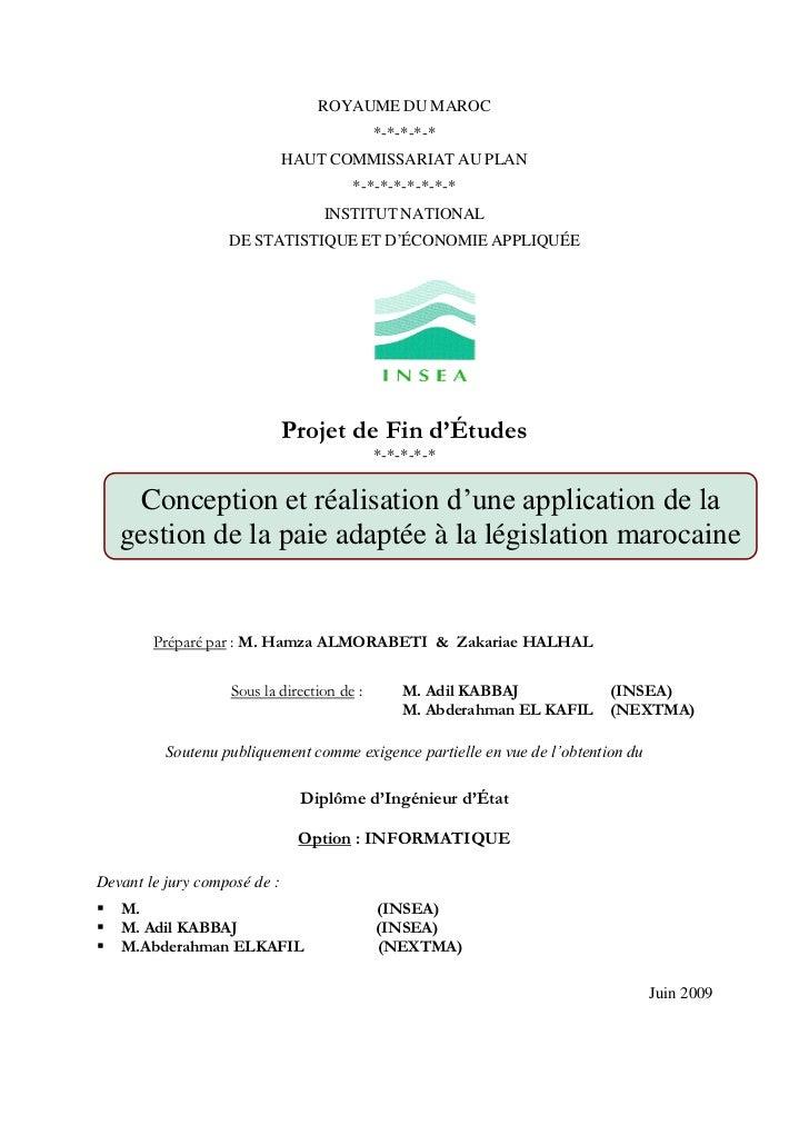 Conception d'un module de gestion de la paie adapté au contexte marocain pour openerp