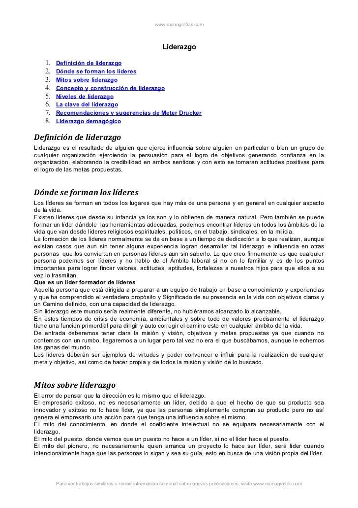 www.monografias.com                                                         Liderazgo    1.   Definición de liderazgo    2...