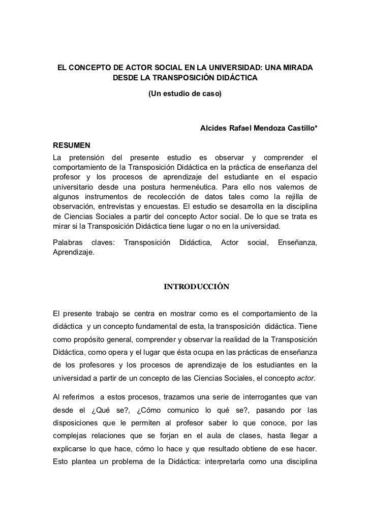 EL CONCEPTO DE ACTOR SOCIAL EN LA UNIVERSIDAD: UNA MIRADA             DESDE LA TRANSPOSICIÓN DIDÁCTICA                    ...