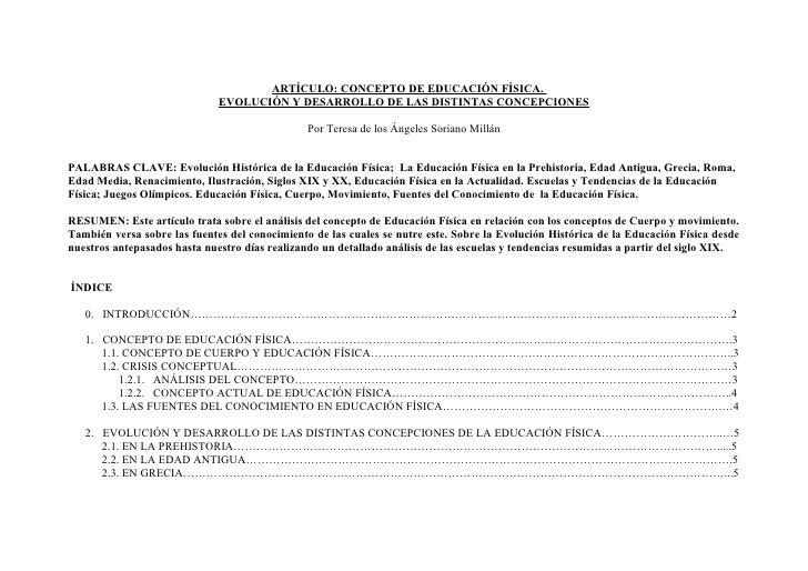 ARTÍCULO: CONCEPTO DE EDUCACIÓN FÍSICA.                              EVOLUCIÓN Y DESARROLLO DE LAS DISTINTAS CONCEPCIONES ...