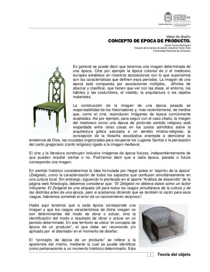 Ideas de diseño                                                CONCEPTO DE EPOCA DE PRODUCTO.                             ...